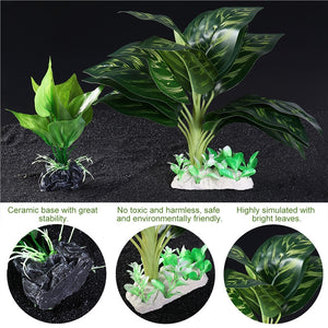UEETEK Set of 2 Leafy Aquarium Plants (Synthetic)