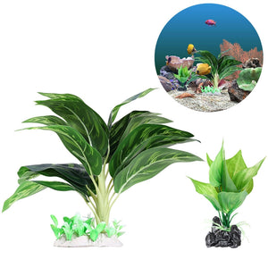 Set of 2 Leafy Aquarium Plants (Synthetic)
