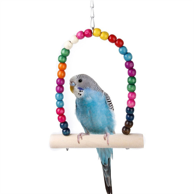 Wooden Beaded Bird Swing
