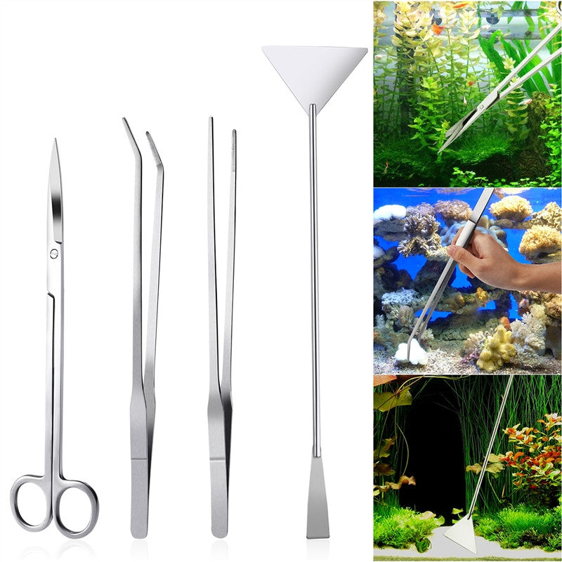 4 Piece Stainless Steel Aquarium Cleaning Set