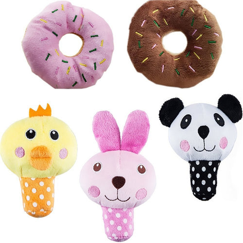 Set of 5 Squeaky Plush Dog Toys