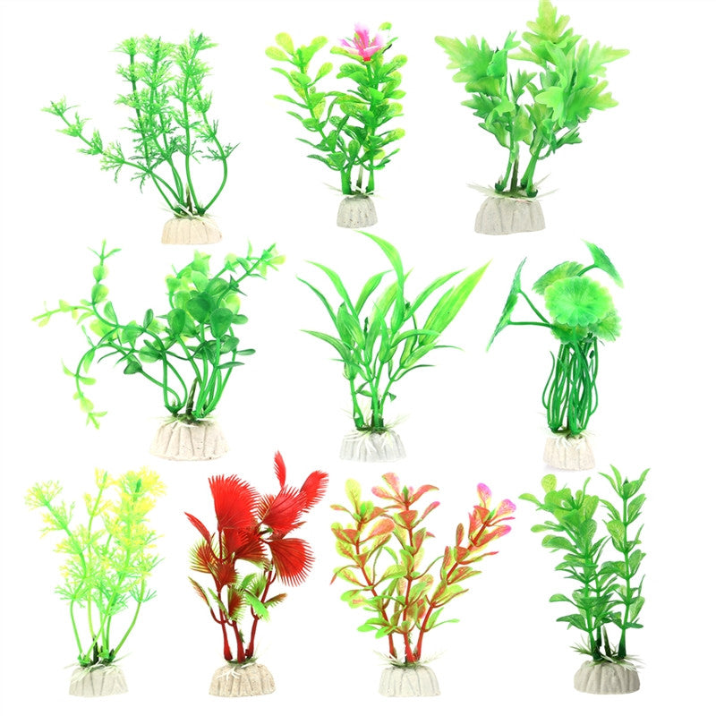 Pack of 10 Plastic Aquarium Plants