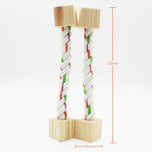 Cotton Rope/Wooden Base Durable Bird Chew Toy