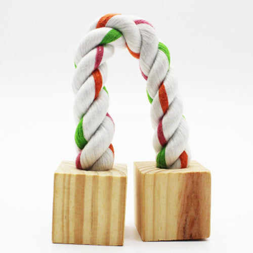 Cotton Rope Wooden Base Durable Bird Chew Toy