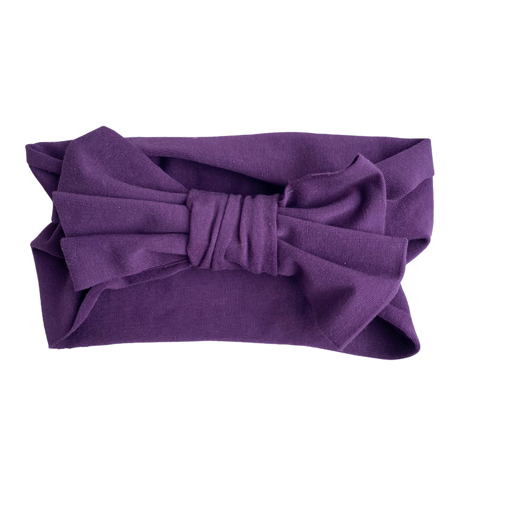 Plum Big Bow Headband - RTS