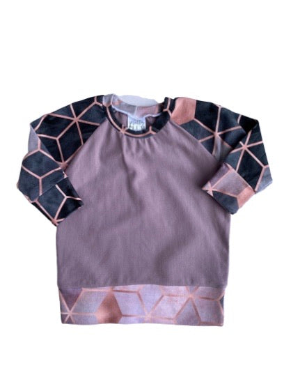 Mauve with Blush Geo Accent Raglan - Clearance