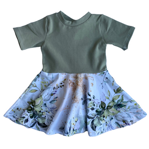 Fern with Leafy Greens Skirt Dress - RTS