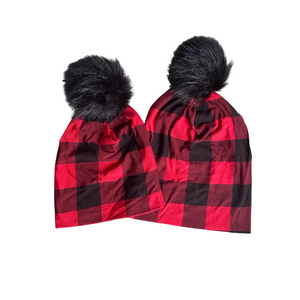 Mama and Mini Buffalo Plaid Pom Pom Beanie