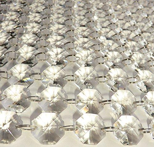 100 Pieces of Octagon Chandelier Drops Light Parts Cut Glass Crystals Droplets Christmas Tree Vintage Chic Wedding Decorations Garlands Prisms Art Deco Feng Shui Window Beads (Clear 18mm)