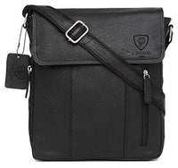 100% Pure Genuine Real Vintage Hunter Leather Handmade Mens Women Leather Flapover Everyday Crossover Shoulder Work iPad Messenger Bag (Black)