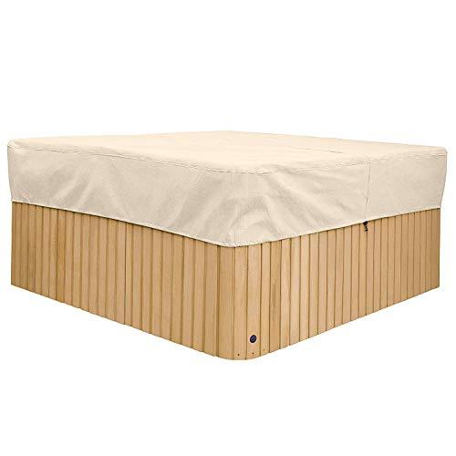 100% Waterproof Polyester Square Hot Tub Cover Outdoor SPA Covers-English Garden Hot Tub Cover 88 * 88 * 14 inch(L*W*H) CYFC1304 (Khaki)