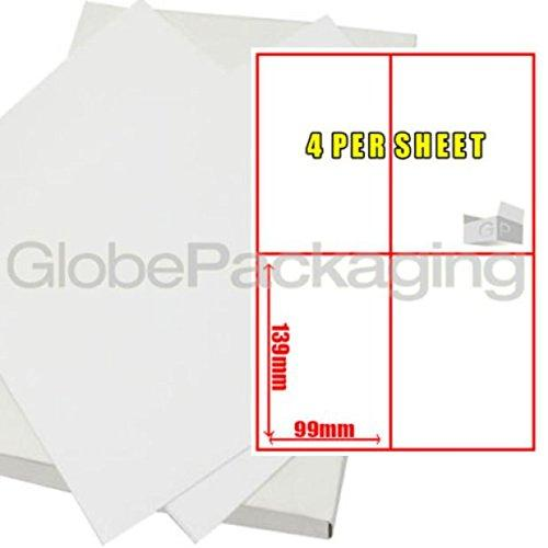 1000 A4 Size Printer Laser Address Labels - 4 Per Page