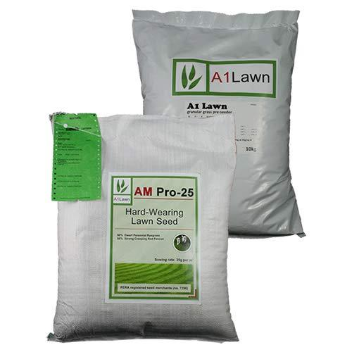 10kg A1LAWN AM PRO-25 HARD-WEARING GRASS SEED & 10kg PRE-SEEDER FERTILISER (MULTI-SAVE PACK)