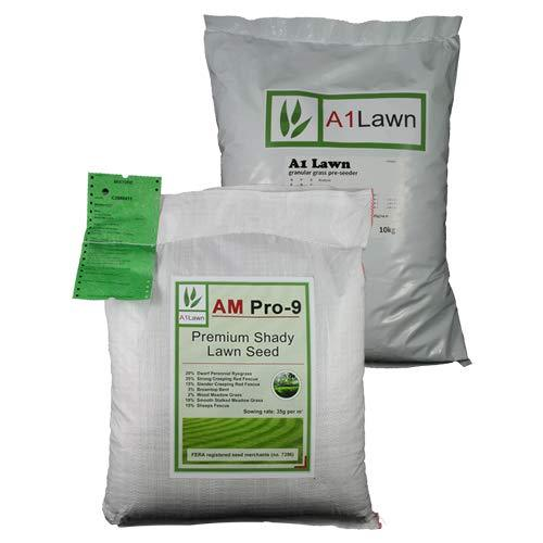 10kg A1LAWN AM PRO-9 SHADY LAWN GRASS SEED & 10kg PRE-SEEDER FERTILISER (MULTI-SAVE PACK)