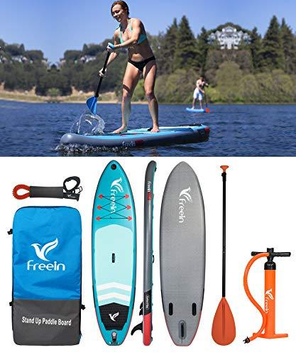 "11' Inflatable SUP Stand Up Paddle Board with Motion Camera Base (6"" Thick, 33"" Wide) Beginner's Kit,Adj Aluminium Floating Paddle, Pump, ISUP Travel Backpack, Leash, Waterproof Bag Reusable"