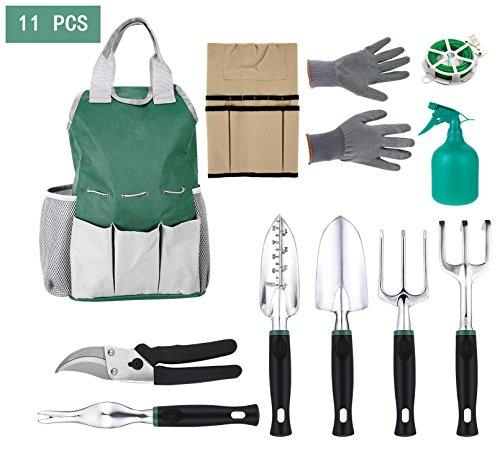 11 Piece Gardening Tool Kit Gardeners Tool Set with 6 Gardening Tools, Cotton Gloves and Storage Tool Bag