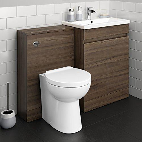 1100 mm Modern Walnut Bathroom Drawer Vanity Unit Basin Sink + Toilet Furniture Set