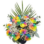 12 Happy Rainbow Roses Presented in a Hand Tied Bouquet with Lush Foliage and Delivered for Free