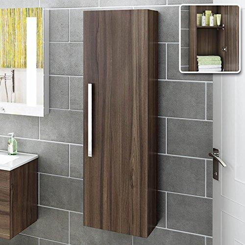 1200 mm Tall Wall Hung Walnut Effect Storage Cabinet Bathroom Furniture