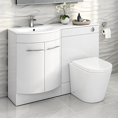 1200 mm White Vanity Unit Countertop Basin + Toilet Bathroom Furniture Set MV1610