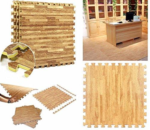 12pc Wooden Eva Mat Wood Effect Interlocking Gym Play Workout Garage Floor Mats Wilsons Direct