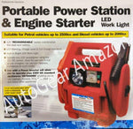 12v PS10 Portable Car Battery Booster Jump Starter Power Pack For Up To 2500cc Engine With LED Work Light