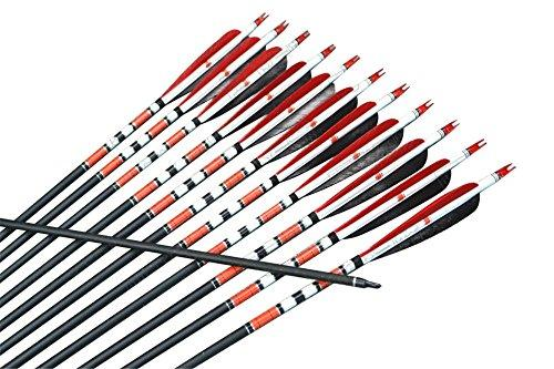 12x Spine 500 Natural Feathered Carbon Arrows for Archery Longbow Recurve Bow