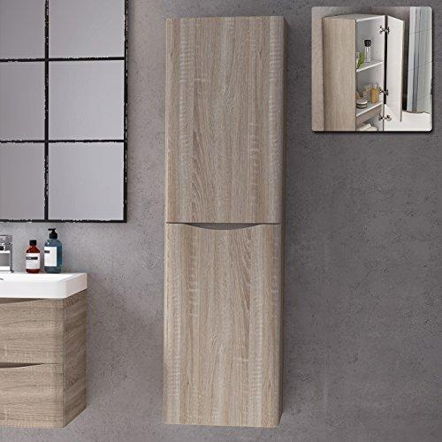 1400 mm Tall Light Oak Bathroom Furniture Cupboard Right Hand Cabinet Storage Unit
