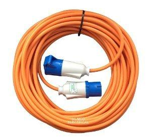 15 metre Orange Caravan Hook Up / Extension Cable with 16 Amp Plug & Socket - Professionally assembled by MCD Electrical
