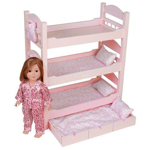 "18 Inch Doll Triple Bunk Bed - Stackable Wooden Furniture Made to Fit American Girl or Other 18"" Dolls by Emily Rose Doll Clothes"