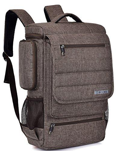 18.4 Inch Laptop Backpack,SOCKO Multifunctional Unisex Luggage & Travel Bags Knapsack,Rucksack Backpack Hiking Bags School Shoulder Backpacks Fits 18 to 18.4 Inch Laptop / Notebook Computer,Brown