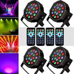 1KOOT DJ Disco Stage Light, 18LEDs (4 Packs) With Sound Activated DMX And Remote Strobe Lights - Suitable For Band DJ KTV Club Bar Family Reunion Wedding Party