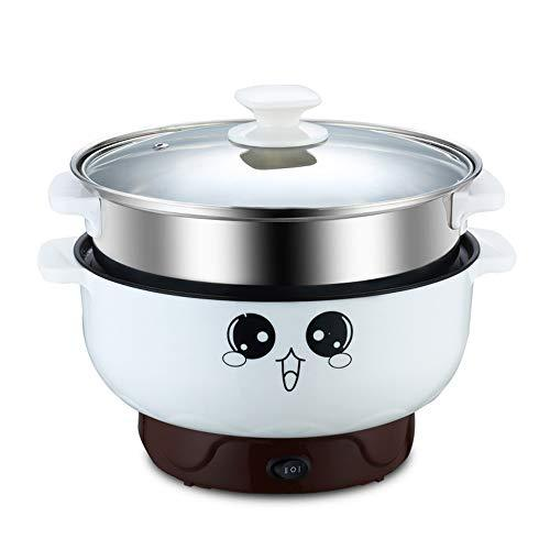 2-3L Mini Electric Skillet Multifunctional Portable Electric Pot Non Stick Cooker for Cooking Rice Soup Porridge Cooking Fried (with Steamer, 2.8L)