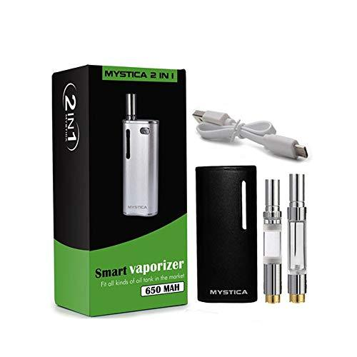 2-in-1 Mystica Portable Vaporizer for Wax CBD Oil 650mAh Battery Dual Quartz Coil Vape Kit Fit 510 Thread CBD Cartridges No Nicotine