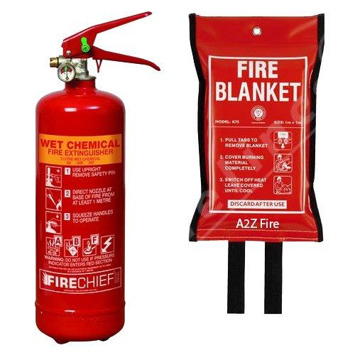 2 Litre Wet Chemical Fire Extinguisher & 1m x 1m Fire Blanket ...