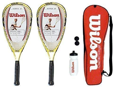 2 Wilson Ripper Junior Squash Rackets Set with Bag,Waterbottle & Balls