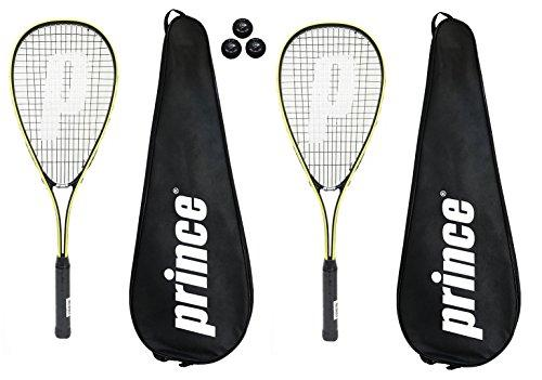 2 x Prince Power Rebel Ti Squash Rackets + Covers + 3 Squash Balls
