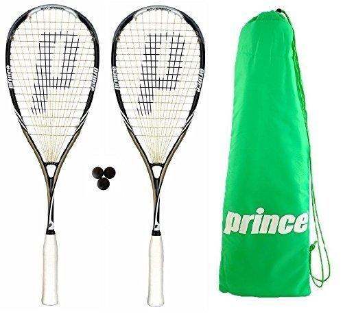 2 x Prince Pro Sovereign 650 Squash Rackets + 3 Squash Balls + Bag