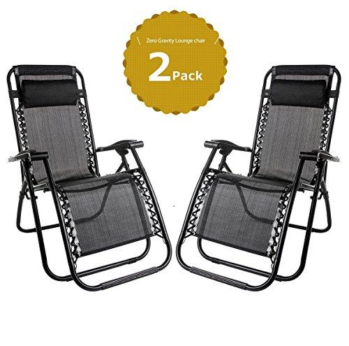 2 x Sun Lounger Textoline Reclining Garden Chair Zero Gravity Chairs Beach Folding & Reclining Sun Loungers Recliner Chairs Weatherproof Textoline made from Steel Frame and Textoline Fabric for Patio, Conservatory, Garden Leisure Zone (Black)