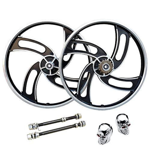 "20"" BMX Bike Mag Alloy Wheelset Sealed Bearings Hubs + Freewheel Cog Valve Caps"