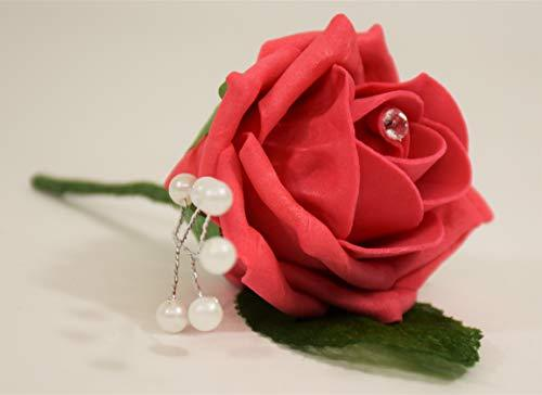 20 Rose with Pearl spray Wedding Buttonholes with Diamante and leaf - Bride, Groom, Bridesmaid, Pageboys and Guests - Artificial Colourfast Foam Rose for Wedding, Party, Reception, Prom, Garden party