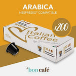 200 CAPSULES ITALIANCOFFEE ARABIC COFFEE SUITABLE FOR ALL NESPRESSO MACHINES * (10 CPS.* 20 BOXES)