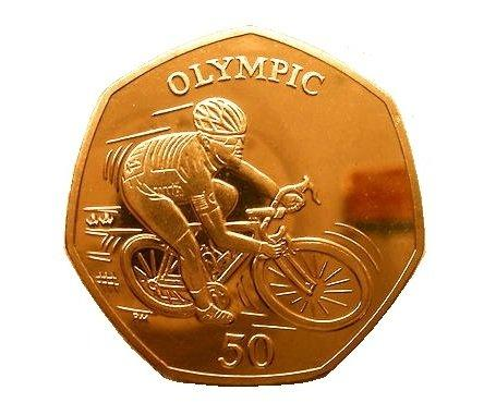 2012 24 CARAT GOLD PLATED ISLE OF MAN MARK CAVENDISH CYCLING 50p COIN WITH CAPSULE COIN HOLDER