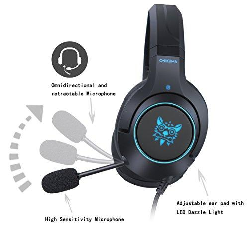 [2018 Newly issued] ONIKUMA Gaming Headset -K9 3 5mm Stereo Wired Over Ear  Xbox one Gaming Headset Gaming Headset with Mic & Noise Cancelling & LED