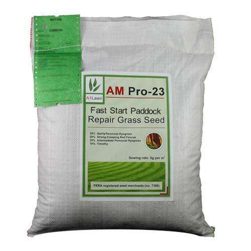 20kg Top Quality Grass Seed / A1LAWN AM Pro-23 Horse and Pony Fast Start Paddock Repair - covers approx. 4000 sq metres - DEFRA registered