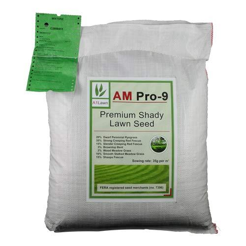 20kg Top Quality Grass Seed/Lawn Seed for Shaded & Woodland Areas (A1LAWN AM Pro-9 Premium Deep-Rooted Mix) - covers approx. 571 sq metres - DEFRA registered