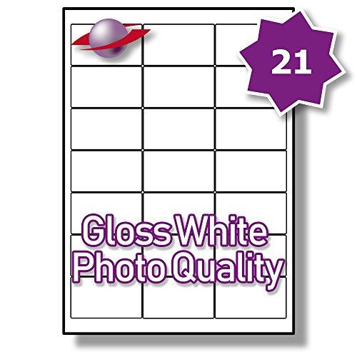 21 Per Page/Sheet 100 Sheets (2100 Sticky PHOTO GLOSS Labels) Label Planet® White Glossy Self-Adhesive Blank Plain A4 Permanent Printable Premium Quality Stickers, For Printing On Laser/INKJET Printers, 63.5 x 38.1MM UK LP21/63 GWPQ, Multi-Purpose