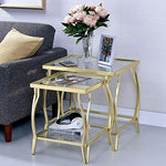 247SHOPATHOME IDF-AC708CPN 2 Piece Mesa Nesting Tables, Champagne