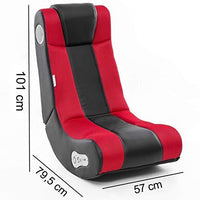 24Designs Max - Racing seat Game chair modern rocking - with Bluetooth & Speakers Technology - Black/Red