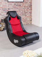 24Designs - Race chair Game modern rocking chair - with Bluetooth & Speakers Technology- Black/Red